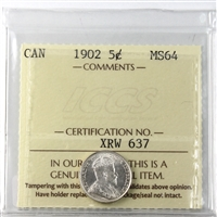 1902 Canada 5-cents ICCS Certified MS-64 (XMX 151)