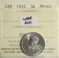 1922 Near Rim Canada 5-cents ICCS Certified MS-63