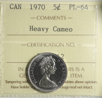 1970 Canada 5-cent ICCS Certified PL-64 Heavy Cameo