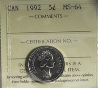 1992 Canada 5-cents ICCS Certified MS-64