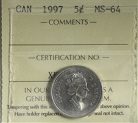 1997 Canada 5-cents ICCS Certified MS-64