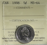1998 Canada 5-cents ICCS Certified MS-64