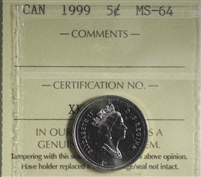 1999 Canada 5-cents ICCS Certified MS-64