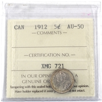 1912 Canada 5-cents ICCS Certified AU-50
