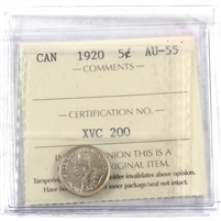 1920 Canada 5-cents ICCS Certified AU-55