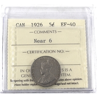 1926 Near 6 Canada 5-cents ICCS Certified EF-40