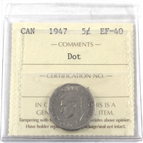 1947 Dot Canada 5-cents ICCS Certified EF-40