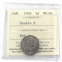1958 Double 8 Canada 5-cents ICCS Certified MS-64