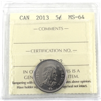 2013 Canada 5-cents ICCS Certified MS-64