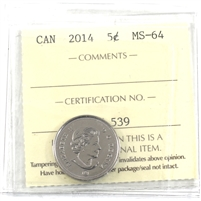 2014 Canada 5-cents ICCS Certified MS-64