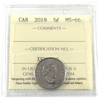 2019 Canada 5-cents ICCS Certified MS-66