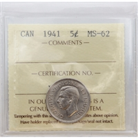 1941 Canada 5-cent ICCS Certified MS-62