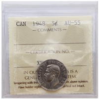 1948 Canada 5-cents ICCS Certified AU-55