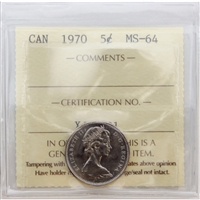 1970 Canada 5-cents ICCS Certified MS-64