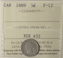 1889 Canada 5-Cents ICCS Certified F-15 (XLH 523)
