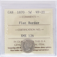 1870 Canada 5-Cents ICCS Certified VF-30 Flat Border