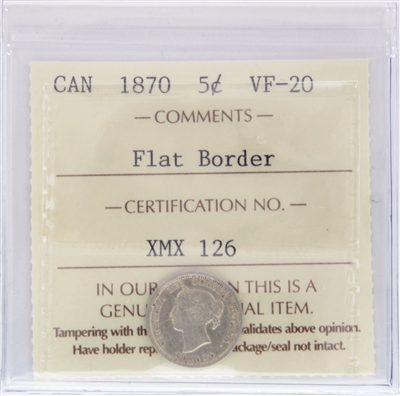 1870 Flat Border Canada 5-Cents ICCS Certified VF-20