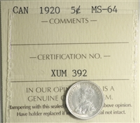 1920 Canada 5-Cents ICCS Certified MS-64