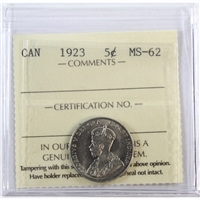 1923 Canada 5-Cents ICCS Certified MS-62