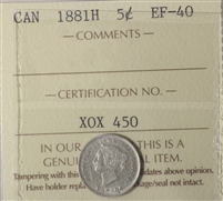 1881H Canada 5-Cents ICCS Certified VF-30