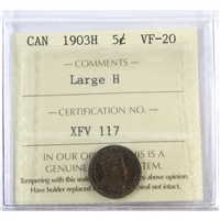 1903H Canada 5-Cents ICCS Certified VF-20 Large H