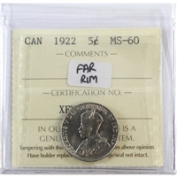 1922 Canada 5-Cents ICCS Certified MS-60 Far Rim