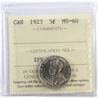 1923 Canada 5-Cents ICCS Certified MS-60
