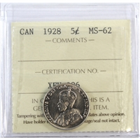1928 Canada 5-Cents ICCS Certified MS-62