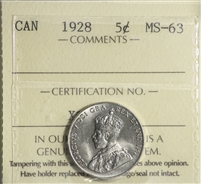 1928 Canada 5-Cents ICCS Certified MS-63