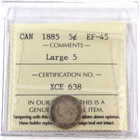 1885 Canada 5-Cents ICCS Certified EF-45 Large 5