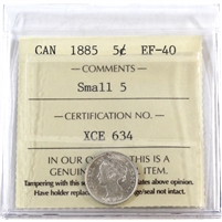 1885 Canada 5-Cents ICCS Certified EF-40 Small 5