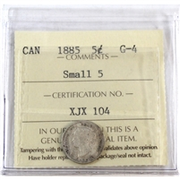 1885 Canada 5-Cents ICCS Certified G-4 Small 5