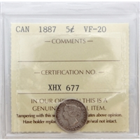 1887 Canada 5-Cents ICCS Certified VF-20