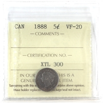 1888 Canada 5-Cents ICCS Certified VF-20