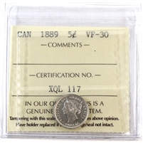 1889 Canada 5-Cents ICCS Certified VF-30