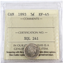 1893 Canada 5-Cents ICCS Certified EF-45