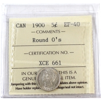 1900 Canada 5-Cents ICCS Certified EF-40 Round O's