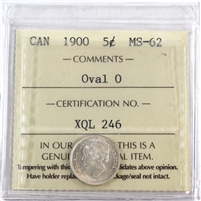 1900 Canada 5-Cents ICCS Certified MS-62 Oval O's (XQL 246)