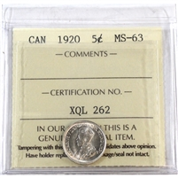 1920 Canada 5-Cents ICCS Certified MS-63 (XQL 262)