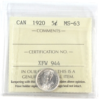 1920 Canada 5-Cents ICCS Certified MS-63 (XQL 130)