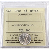1920 Canada 5-Cents ICCS Certified MS-63 (XQL 260)