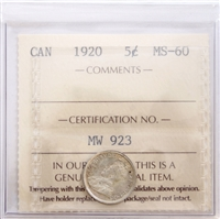 1920 Canada 5-Cents ICCS Certified MS-60 (GU 109)