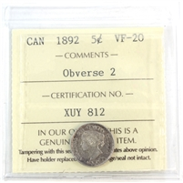 1892 Obv. 2 Canada 5-Cents ICCS Certified VF-20