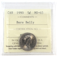 1990 Canada 5-Cents ICCS Certified MS-65 Bare Belly
