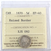 1870 Canada Raised Border 5-Cents ICCS Certified EF-40