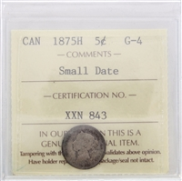 1875H Small Date Canada 5-Cents ICCS Certified VF-30 (XSS 412)