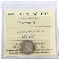 1883H Obv. 5 Canada 5-Cents ICCS Certified F-15