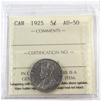 1925 Canada 5-Cents ICCS Certified AU-50