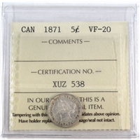 1871 Canada 5 Cents ICCS Certified VF-20