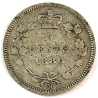 1880H Obv. 2 Canada 5 Cents Very Good (VG-8)